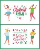 Kerstmisverkoop op de Mensen Partying van de de Wintervakantie royalty-vrije illustratie