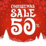 Kerstmisverkoop op rode achtergrond stock illustratie
