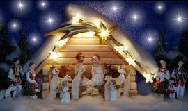 Kerstmisvoederbak Royalty-vrije Stock Afbeeldingen
