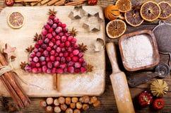 Kerstmisvoedsel Ingrediënten voor het koken Kerstmisbaksel, bovenkant vi stock foto's