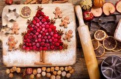 Kerstmisvoedsel Ingrediënten voor het koken Kerstmisbaksel, bovenkant vi royalty-vrije stock fotografie