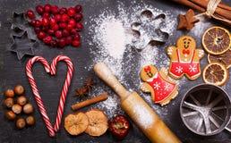 Kerstmisvoedsel Peperkoekkoekjes met ingrediënten voor christm stock foto's