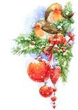Kerstmisvogel en Kerstmisachtergrond De illustratie van de waterverf Stock Fotografie