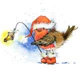Kerstmisvogel en Kerstmisachtergrond De illustratie van de waterverf Royalty-vrije Stock Fotografie
