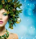 Kerstmisvrouw Stock Afbeeldingen