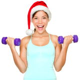Kerstmisvrouw van de geschiktheid opleiding Stock Foto's