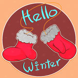 Kerstmisvuisthandschoenen in een beeldverhaalstijl Vector illustratie Stock Foto