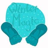 Kerstmisvuisthandschoenen in een beeldverhaalstijl Vector illustratie Royalty-vrije Stock Foto