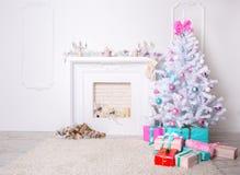 Kerstmiswoonkamer stock afbeeldingen
