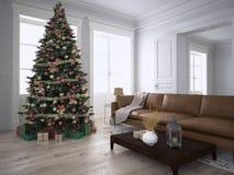 Kerstmiswoonkamer het 3d teruggeven Royalty-vrije Stock Fotografie