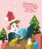 Kerstmiszakenman het gelukkige werken bij zijn bureau vector illustratie