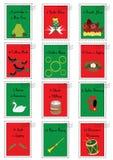12 Kerstmiszegels met de twaalf dagen van Kerstmis royalty-vrije stock foto's