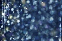Kerstnacht Abstracte Achtergrond - Schitterend Licht en Sterren Stock Afbeelding