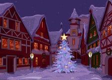 Kerstnacht bij stad Stock Afbeeldingen