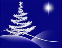 Kerstnacht - blauw royalty-vrije illustratie