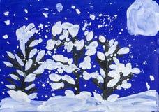 Kerstnacht in bos met volle maan Tekening van een vader en een zoon Stock Afbeeldingen