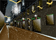 Kerstnacht in de stad Stock Foto's
