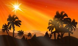 Kerstnacht in de woestijn bij schemer vector illustratie