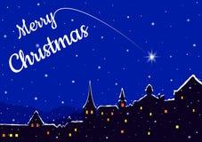 Kerstnacht in een stad Royalty-vrije Stock Fotografie