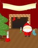 Kerstnacht: Kerstman en konijnen. Stock Foto