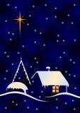 Kerstnacht met bollen Stock Foto's