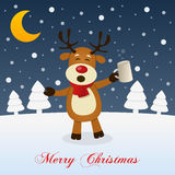 Kerstnacht met Dronken Grappig Rendier stock illustratie