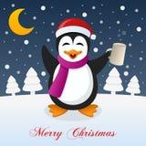 Kerstnacht met Dronken Grappige Pinguïn Stock Afbeeldingen