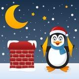 Kerstnacht met Gelukkige Pinguïn Royalty-vrije Stock Afbeelding