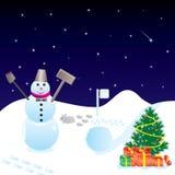 Kerstnacht met sneeuwman Stock Afbeelding