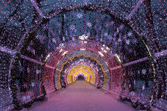 Kerstnacht Moskou De lichte tunnel op Tverskoy-Boulevard Royalty-vrije Stock Afbeeldingen