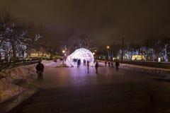 Kerstnacht Moskou-- De lichte tunnel op Tverskoy-Boulevard, Rusland Stock Afbeelding