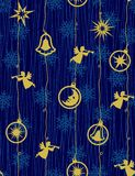 Kerstnacht - naadloos patroon Stock Foto
