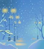 Kerstnacht sneeuwstraat Stock Afbeeldingen