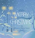 Kerstnacht sneeuwstraat stock illustratie