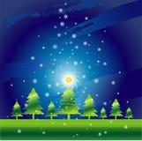 Kerstnacht, vector royalty-vrije illustratie