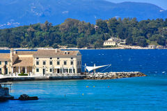 Kerykra city old harbour. Old venetian architecture in Corfu Town citadel on the old Corfu island in western Greece stock photos