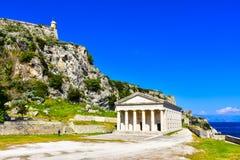 Kerykra vecchio Phanteon Attrazione turistica importante a Corfù fotografia stock libera da diritti