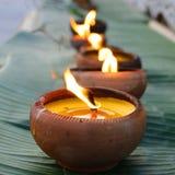 Kerze auf Bananenblatt während Loy-krathong Festivals CHIANG MAI, THAILAND Lizenzfreies Stockbild