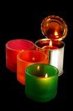 Kerze auf einer Blechdose Stockbilder