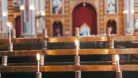 Kerze in Christian Church stock video footage