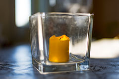 Kerze in der Flasche Stockfotos