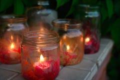 Kerze in einem Glas Stockfotografie