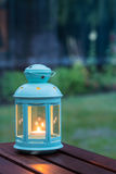 Kerze in einer Laterne Stockfoto