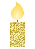 Kerze gebildet von den verschiedenen Weihnachtssymbolen Stockfoto