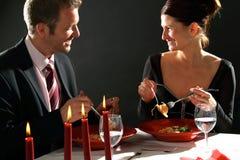 Kerze-helles Abendessen Stockfotos