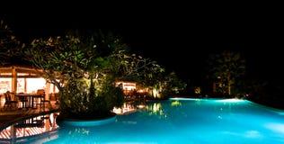 Kerze-Leuchteabendessen des Pools seitliches Lizenzfreie Stockbilder