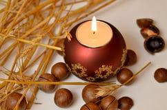 Kerze, Macadamiamuttern und Weizen Stockbilder