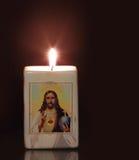 Kerze mit Religion motiff Lizenzfreie Stockbilder