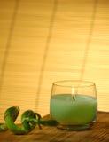 Kerze und Bambus Lizenzfreies Stockbild