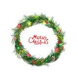 Kerze und Glaskugeln mit dem gezierten Zweig Frohe Weihnachten Auch im corel abgehobenen Betrag Stockbild